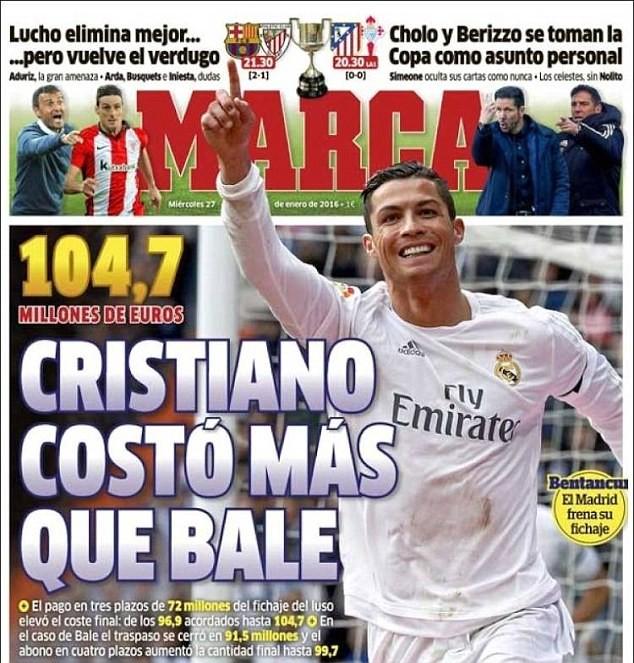 Theo Marca, mức phí chuyển nhượng của Ronaldo rơi vào 104,7 triệu bảng