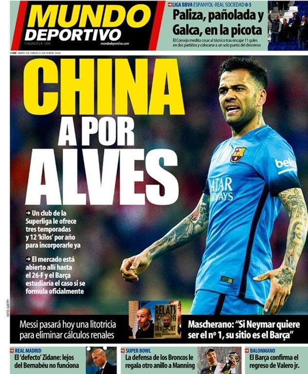 """Nếu đến Trung Quốc """"dưỡng già"""", Alves sẽ nhận 12 triệu euro mỗi năm"""