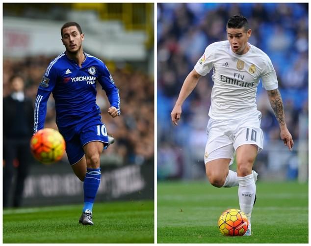 Real Madrid muốn đổi James Rodriguez lấy Eden Hazard (áo xanh) của Chelsea