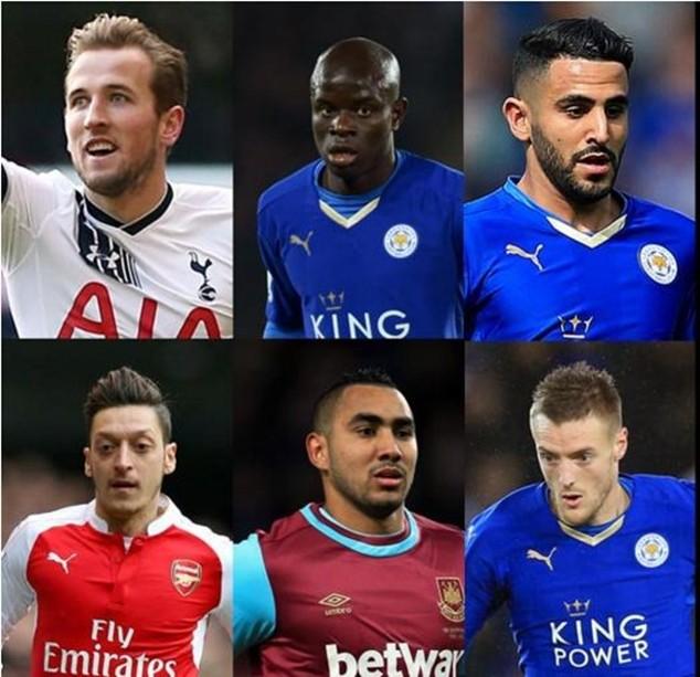 6 đề cử cho danh hiệu Cầu thủ xuất sắc nhất PFA năm 2016
