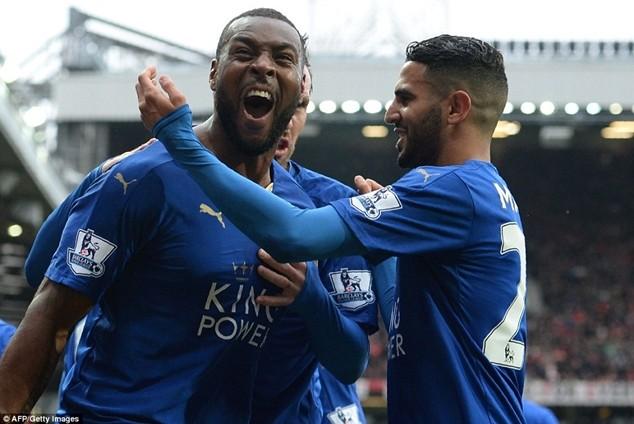 Morgan ăn mừng bàn thắng giúp Leicester quân bình tỷ số 1-1 tại Old Trafford