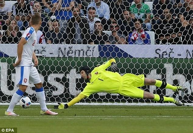Cech vất vả chống đỡ những cú sút của Croatia