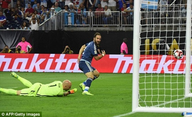 Higuain lập cú đúp bàn thắng trong trận thứ hai liên tiếp của Argentina