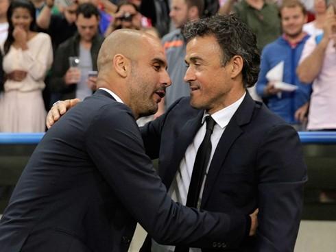 Guardiola sẽ cùng Man City đụng độ với Barcelona của Luis Enrique tại Bảng C