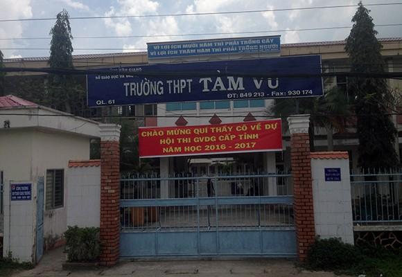 Trường THPT Tầm Vu - nơi xảy ra vụ việc thầy trò đánh nhau