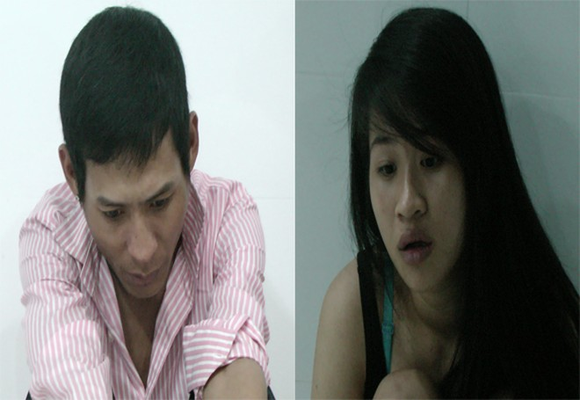 Hai đối tượng Phạm Sơn Quang và Nguyễn THị Hồng Nữ tại cơ quan điều tra