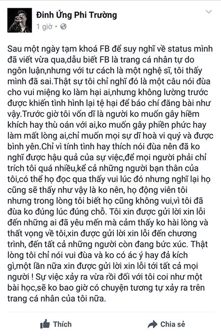"""Đinh Ứng Phi Trường xin lỗi sau khi """"đá đểu"""" giới tính Noo Phước Thịnh ảnh 2"""