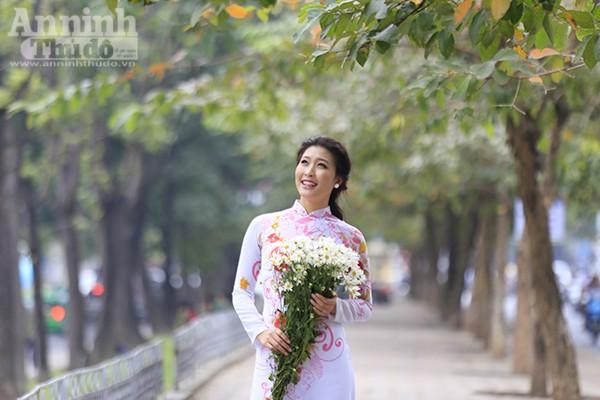 """Trong cái lạnh nhè nhẹ đầu đông, những bông cúc họa mi trắng tinh khôi đồng loạt rủ nhau """"xuống phố"""" cùng những thiếu nữ đam mê loài hoa này."""
