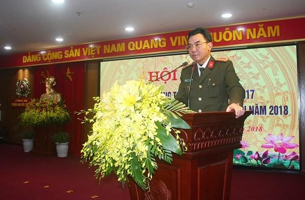 Đại tá Nguyễn Anh Tuấn phát biểu chỉ đạo tại hội nghị
