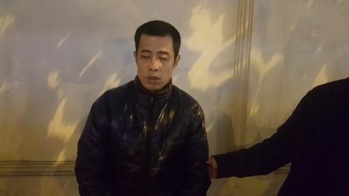 Đối tượng Triệu Hoàng tại cơ quan công an