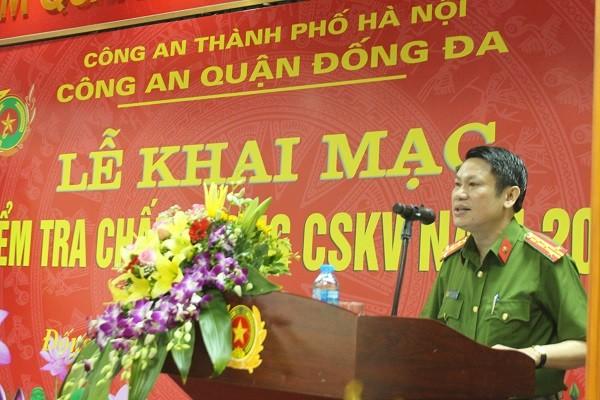 Đại tá Nguyễn Văn Viện, Phó Giám đốc CATP Hà Nội phát biểu tại lễ khai mạc