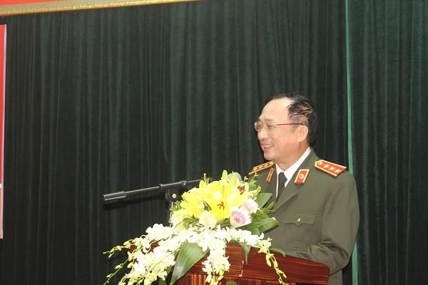 Thượng tướng Nguyễn Văn Thành, Thứ trưởng Bộ Công an phát biểu động viên Đoàn thể thao CAND