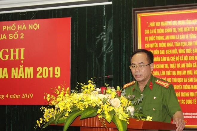 Đại tá Nguyễn Thanh Tùng, Phó Giám đốc CATP Hà Nội phát biểu chỉ đạo tại hội nghị