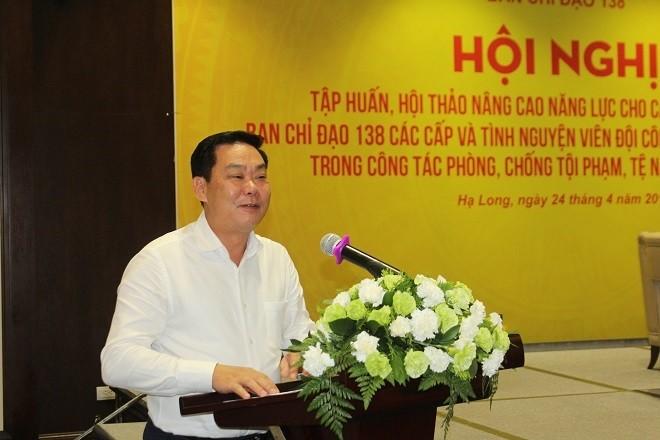Đồng chí Lê Hồng Sơn, Phó Chủ tịch UBND thành phố, Trưởng BCĐ 138 TP. Hà Nội phát biểu chỉ đạo hội nghị