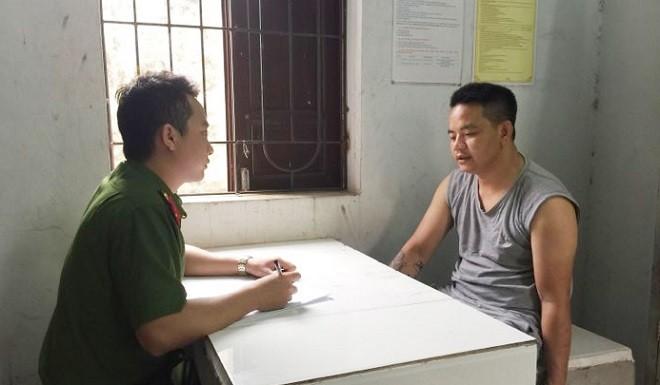 Cơ quan Công an lấy lời khai đối tượng Cấn Văn Minh