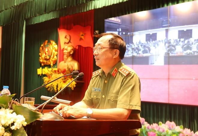 Thượng tướng, PGS.TS Nguyễn Văn Thành, Ủy viên Trung ương Đảng, Thứ trưởng Bộ Công an dự và phát biểu chỉ đạo.