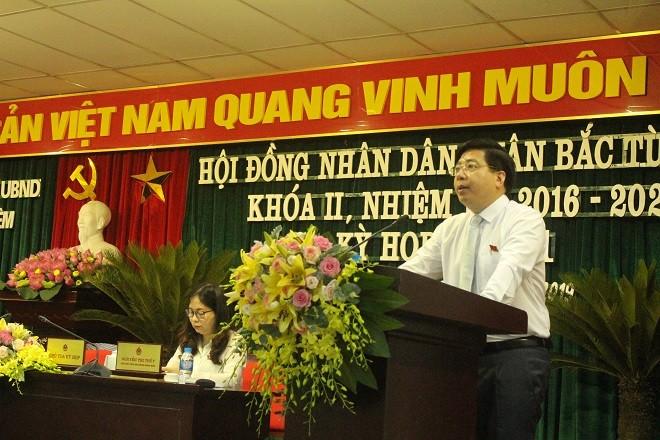 Đồng chí Nguyễn Hữu Tuyên, Chủ tịch HĐND quận Bắc Từ Liêm phát biểu khai mạc kỳ họp