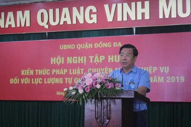 Đồng chí Võ Nguyên Phong, Chủ tịch UBND quận Đống Đa phát biểu khai mạc tập huấn