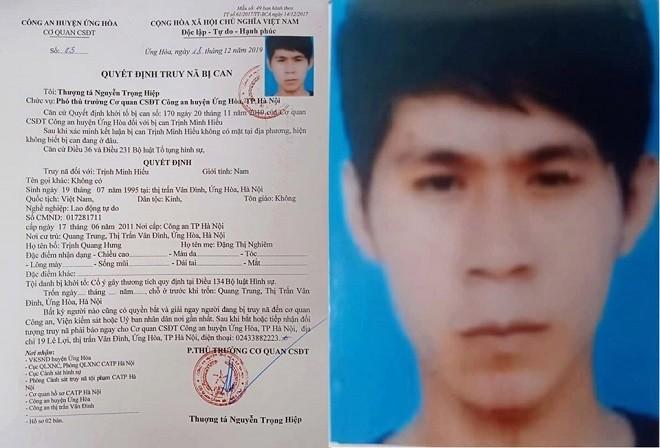 Quyết định truy nã Trịnh Minh Hiếu