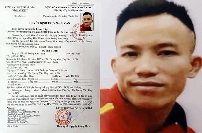 Quyết định truy nã đối tượng Tưởng Kim Hồng