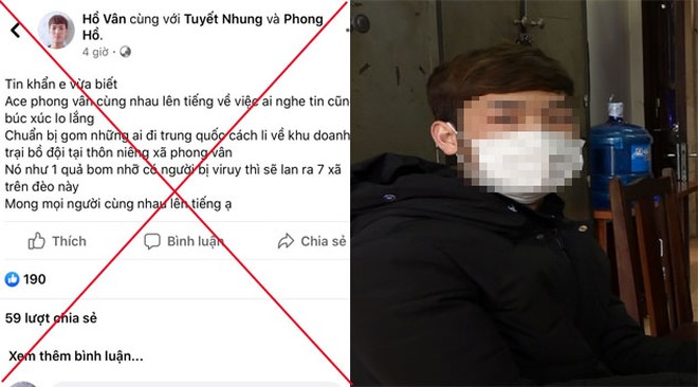 Nội dung sai sự thật được Vân đăng tải lên mạng xã hội