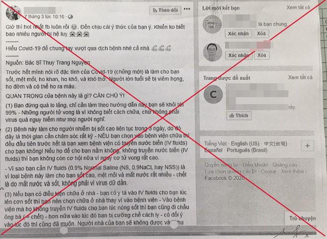 Thông tin sai sự thật được đăng tải trên mạng xã hội