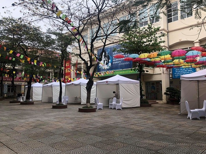 Trạm xét nghiệm nhanh trên địa bàn quận Thanh Xuân được tổ chức