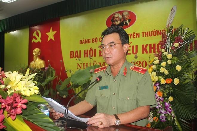 Thiếu tướng Nguyễn Anh Tuấn - Phó Giám đốc CATP Hà Nội phát biểu tại Đại hội