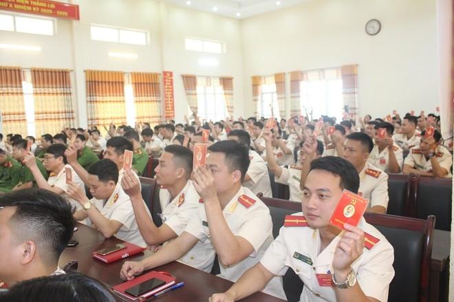Đại hội Đảng bộ Công an huyện Thạch Thất diễn ra trong không khí nghiêm túc, dân chủ