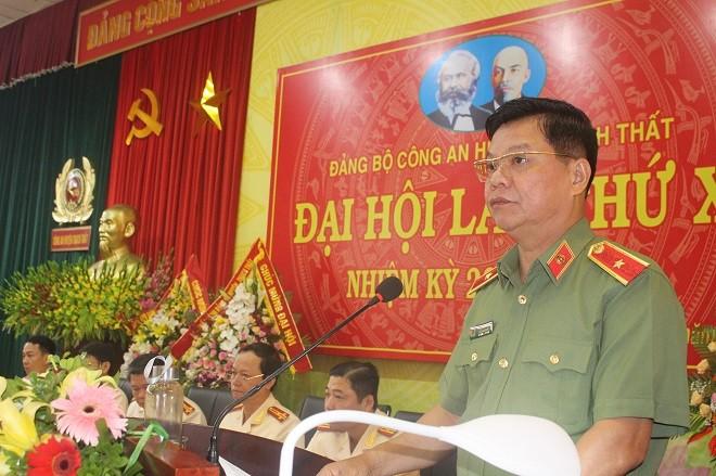 Thiếu tướng Đào Thanh Hải- Phó Bí thư Đảng ủy, Phó Giám đốc CATP Hà Nội phát biểu chỉ đạo tại Đại hội