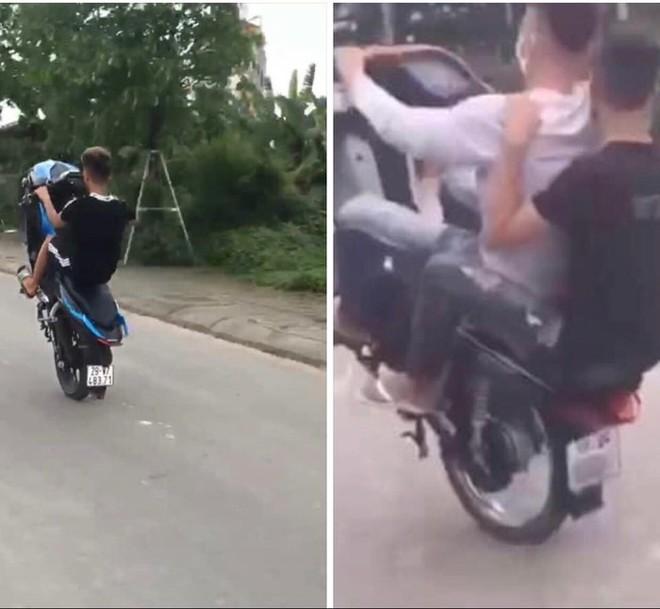 Hình ảnh nam thanh niên điều khiển xe máy bằng một bánh gây nguy hiểm cho người tham gia giao thông và chính bản thân