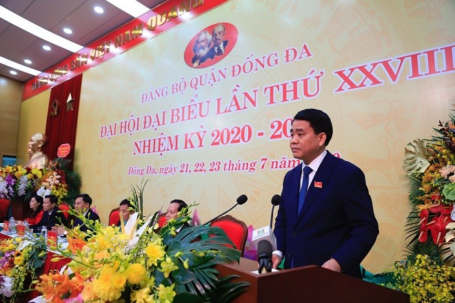 Đồng chí Nguyễn Đức Chung, Ủy viên Trung ương Đảng, Phó Bí thư Thành ủy, Chủ tịch UBND thành phố Hà Nội phát biểu tại Đại hội