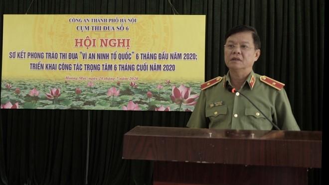 Thiếu tướng Đào Thanh Hải, Phó Bí thư Đảng ủy, Phó Giám đốc CATP Hà Nội dự và phát biểu chỉ đạo