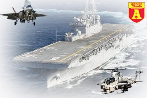 [Infographic] Siêu tàu đổ bộ vừa hạ thủy của Mỹ dư sức nhấn chìm tàu sân bay Trung Quốc? ảnh 1