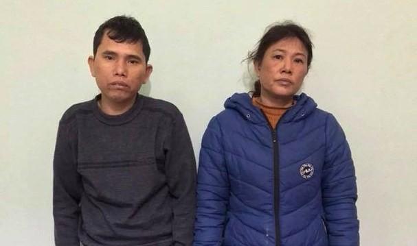 Hồ Sỹ Hưng và Nguyễn Thị Bình tại cơ quan công an