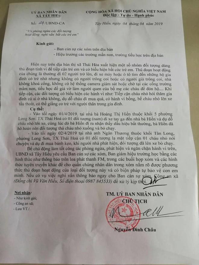 Công văn cảnh báo của chính quyền địa phương để bảo vệ trẻ em