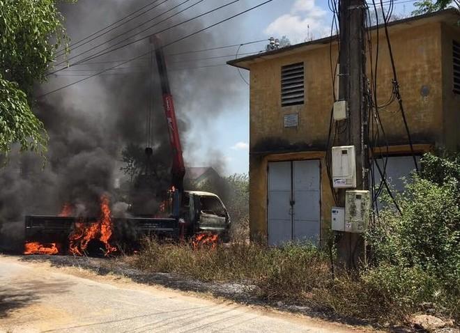 Hiện trường nơi xảy ra vụ cháy khiến tài xế L. tử vong