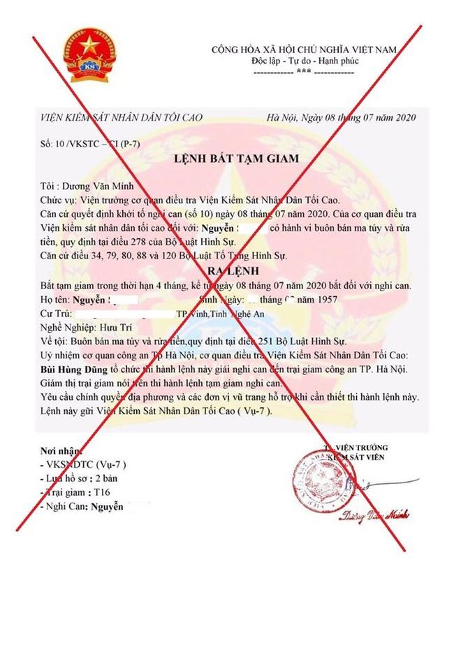 Lệnh bắt tạm giam mà ông A. nhận qua zalo do các đối tượng lừa đảo gửi đến (ảnh công an cung cấp)