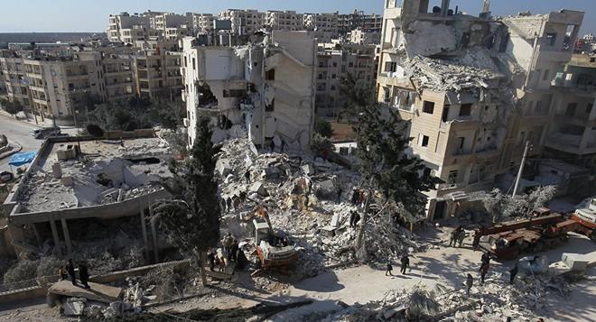 Cảnh đổ nát Idlib sau một trận oanh kích ngày 7/1