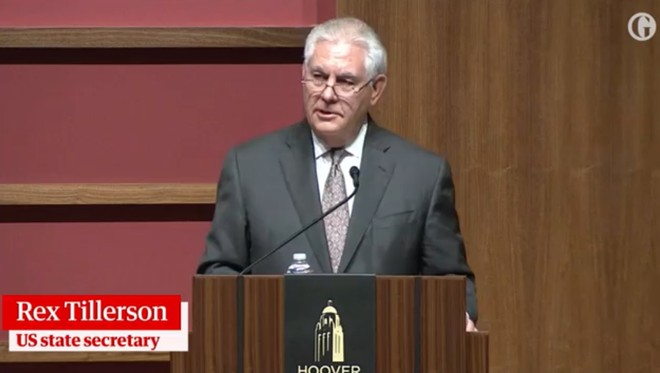 Ngoại trưởng Rex Tillerson phát biểu tại Đại học Stanford