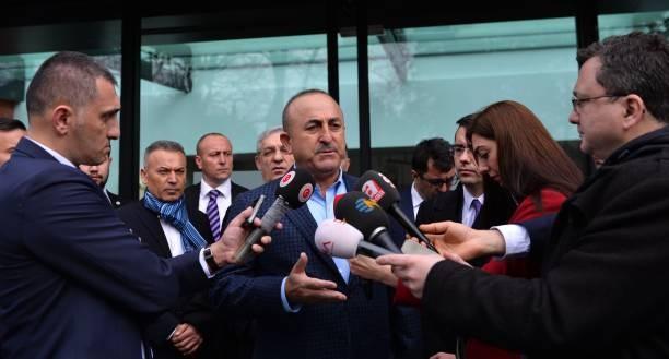 Ngoại trưởng Thổ Nhĩ Kỳ Mevlut Cavusoglu trả lời phỏng vấn trong chuyến thăm Pháp ngày 23/1