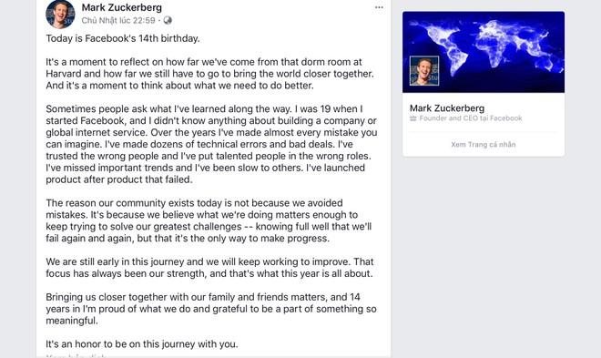 Dòng trạng thái trên Facebook của Mark Zuckerberg