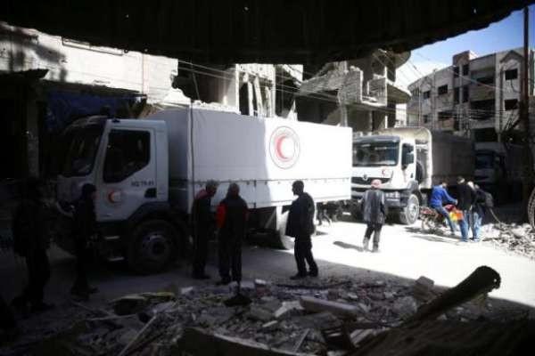 Bộ Quốc phòng Nga cho biết, hàng cứu trợ được chuyển đến kho của phiến quân tại đông Ghouta