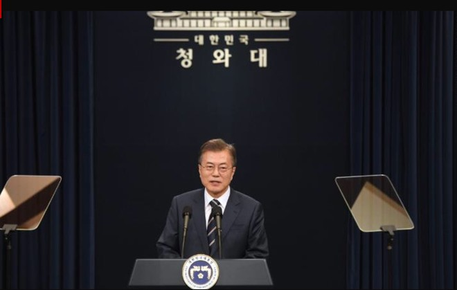 Tổng thống Hàn Quốc Moon Jea-in họp báo sau cuộc gặp liên Triều
