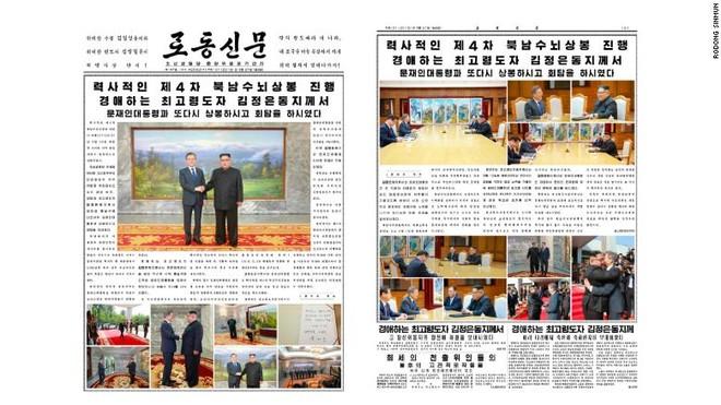 Tờ Rodong Sinmun, đã dành trang nhất và trang thứ 2 để đưa tin về cuộc gặp thượng đỉnh.