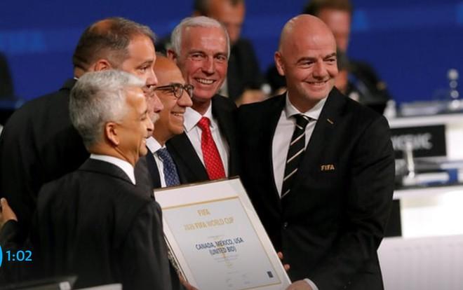 Liên đoàn bóng đá 3 quốc gia Mỹ, Canada và Mexico vui mừng khi trở thành các quốc gia tổ chức World Cup 2026