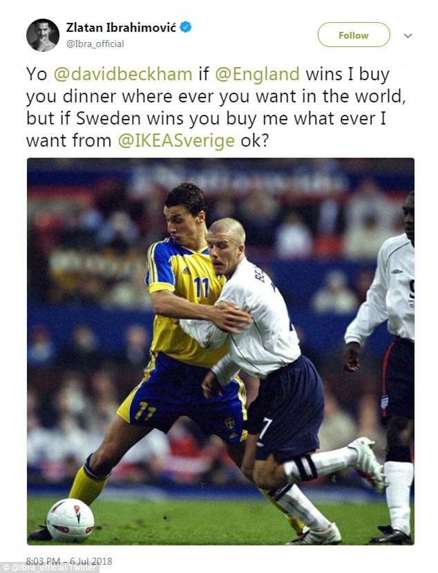 Chia sẻ trên Twitter của tiền đạo Zlatan Ibrahimovic