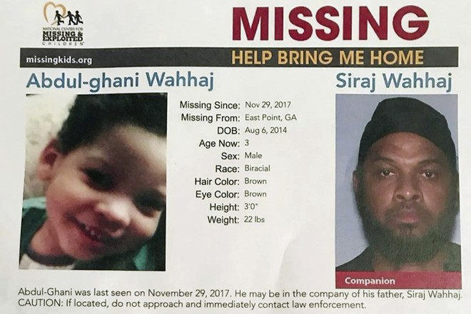 Thông báo tìm trẻ mất tích và hình ảnh nghi phạm Siraj Wahhaj