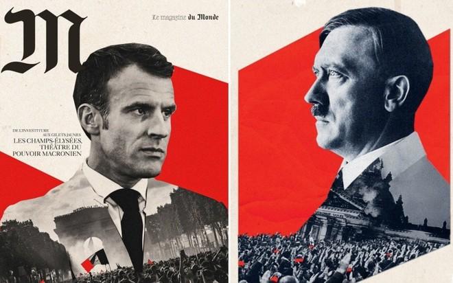 Hình ảnh Tổng thống Macron bị đem ra so sánh với Hitler