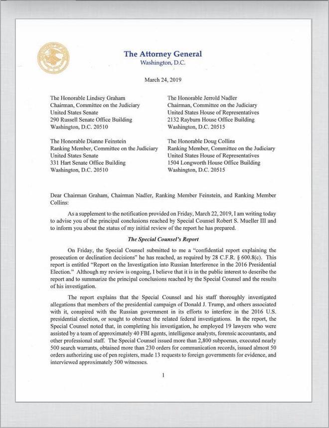 Báo cáo tóm tắt của Tổng chưởng lý Hoa Kỳ William Barr (trang 1)